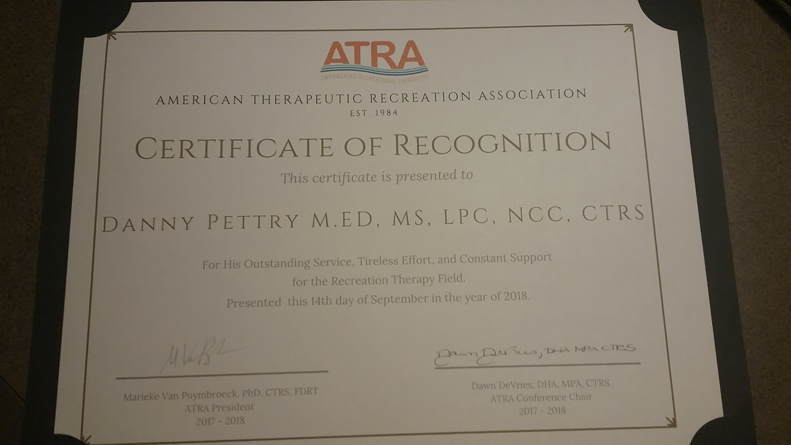 """Danny Pettry awarded """"Certificate of Recognition in"""