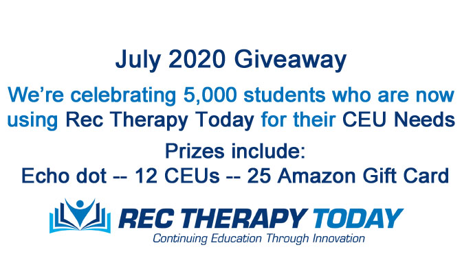 Celebrating 5,000 students enrolled at Rec Therapy Today