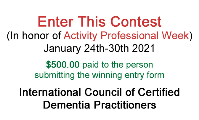Contest: In honor of Activity Professional Week January 24th-30th 2021